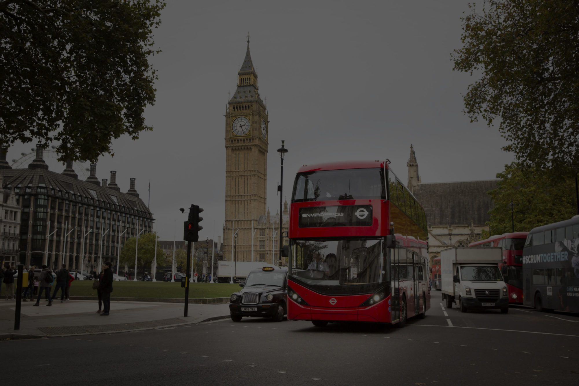 red london bus with london cab and big ben full image